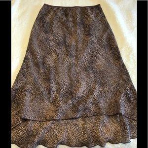 Leopard Print High Low Skirt